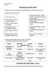Einführung USA Klasse 8, Time zones and distances
