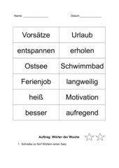 Wörter der Woche (Rechtschreibung, Wortarten...)