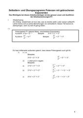 Potenzen mit gebrochenem Exponenten, Klasse 10, Realschule