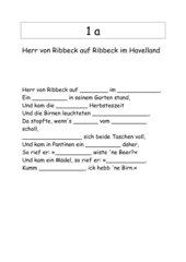Gedicht Herr von Ribbeck auf Ribbeck im Havelland auswendig lernen