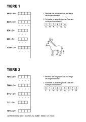 Tiere - einfache Aufgaben zur schriftlichen Division