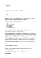 Referat/Protokoll zum