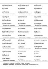 Lernkartei/Lernkarten: Europäische Länder und deren Hauptstädte