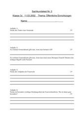 Test Sachunterricht: Öffentliche Einrichtungen (Gemeinde u.a. in Niedersachsen)