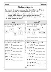 Matheprobe Zahlenraum bis 100 zweifach differenziert