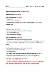 Judentum - Klassenarbeit als Mehrfachauswahl und Lösungen