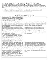 Arbeitsblatt - Vergleich Märchen und Erzählung - Der kleine Hut
