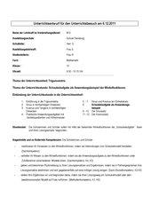 Unterrichtsentwurf Trigonometrie - Anwendungsaufgaben