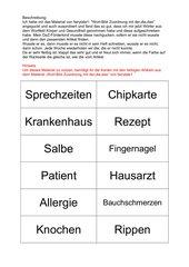 Artikelübung mit dem Wortfeld Körper und Gesundheit