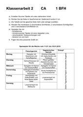 Tabelle in Word Klassenarbeit
