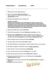 Formatierungen Klassenarbeit mit Lösung