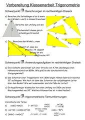 Trigonometrie - Arbeitsvorbereitung
