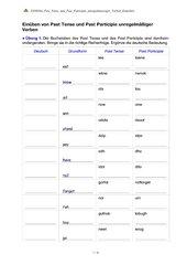 Einüben von Past Tense und Past Participle unregelmaessiger Verben