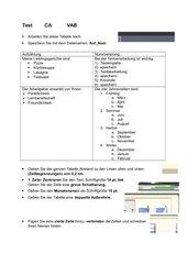 Test, Nummerierung, Aufzählung, Tabelle