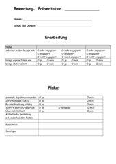 Bewertungsbogen für Präsentationen