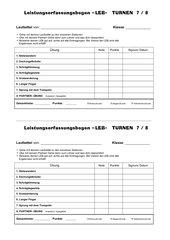 Der Schülererfassungsbogen LEB  für das Turnen in Klasse 7/8