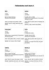 Rollenkarten: Génération Pro Débutants (Lektion 1-4)