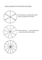 Brüche, dargestellt am Kreis, Rechteck und Quader