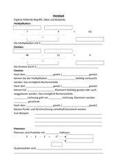 Merkblatt Multiplikation Division Potenzen