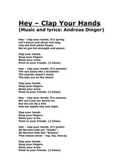 Hey - Clap Your Hands  lyrics and chords