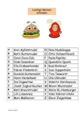 Alphabet mit lustigen Namen (Speisen, Getränke)