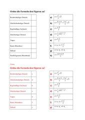 Flächen die  zugehörige Formel für den Flächeninhalt zuordnen