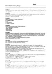 Physik-Prüfung: Arbeit, Leistung, Energie, Geschwindikkeit und Beschleunigung