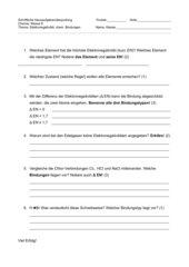 Überprüfung (HÜ) chemische Bindung, Elektronegativität (EN)