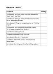 Bericht Checkliste