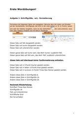 Word-Formatierungsübungen