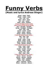 FUNNY VERBS - lyrics and chords+wordlist
