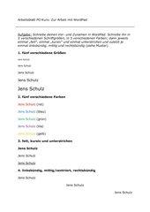 PC-Kurs: Übung mit WordPad