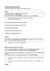 Selbstdiagnosetest und Selbsteinschätzungsbogen Satzglieder