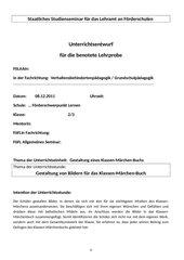 Märchenbilder gestalten - Unterrichtsentwurf Verhaltensbehindertenpäd.