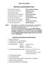 Beschreibende Texte und ihre Merkmale