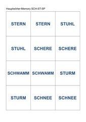 Memo-Spiel / Zuordnungsspiel :  Hauptwörter  SCH-SP-ST