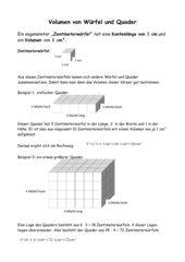 Einführung des Volumens von Würfel und Quader
