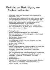 Merkblatt zur Berichtigung von Rechtschreibfehlern, ab Kl. 2