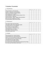 Evaluation sheet for presentations