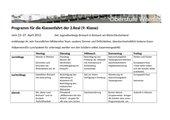 Programmvorschlag für eine Klassenfahrt in die JH Breisach
