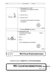 Partnerpuzzle Lichtausbreitung - Kreidestaubexperiment - 5. Klasse