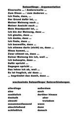 Aufsatz Stellungnahme/  Erörterung - wechselnde Satzanfänge - und Verbindungen  üben