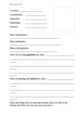Steckbrief für den ersten Schultag (3. Klasse)
