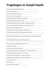 Fragebogen zu Joseph Haydn