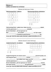 Regelblatt Addition und Subtraktion von Brüchen