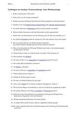 Leitfragen zur Analyse (Untersuchung)  einer Werbeanzeige