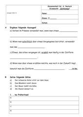 Test Zeitformen Deutsch Jg. 5