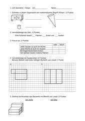 Geometrie Test zu Körpern 4. Klasse