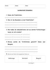 Lernkontrolle (Test), Farbenlehre, Fach Kunst