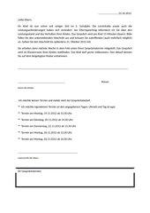 Brief + Raster für den Ablauf vom Elternsprechtag